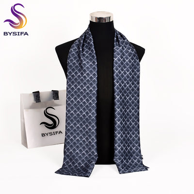 [BYSIFA] New Plaid Men Scarves Autumn Winter Fashion Male Warm Long Silk Scarf Cravat Top Grade Brand Silver Gray Scarf 170*30cm
