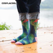 Cool Flamingos Jacquard Hip Hop Crew Men Socks Funny Bird Street Happy Socks Men Harajuku Divertidos Skateboard Chaussette Homme