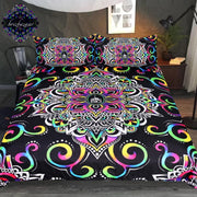 Harmony Magic by Brizbazaar Bedding Set Mandala Floral Duvet Cover Colorful Bed Set 3-Piece Psychedelic Flower Black Bedclothes