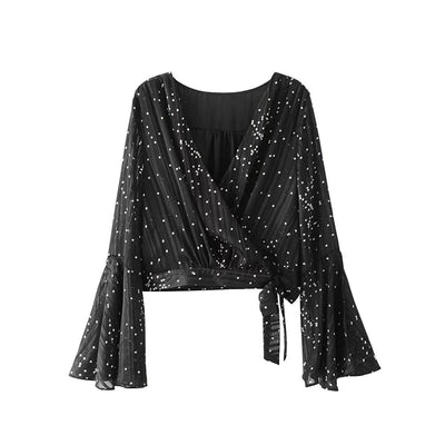 2018 Women's V-neck polka dot black flare sleeve blouse