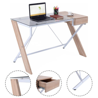 Costway Computer Desk Laptop Table Glass Top Wood Metal Frame Home Office Furniture