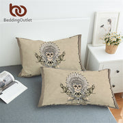 BeddingOutlet Indian Skull Pillowcase Tribal Boys Pillow Case Hatchet Feathers Adults Bedding Gothic Pillow Cover 2pcs 50x75cm
