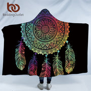 BeddingOutlet Boho Colored Feathers Hooded Blanket for Adults Dreamcatcher Sherpa Fleece Woman Mandala Throw Blanket Microfiber
