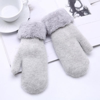Beautiful Winter Woman Knit Wool Thicker Cashmere Warm Black Velvet Gloves Ladies Cute Fingerless Women Solid Mittens Gloves