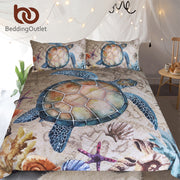 BeddingOutlet Sea Turtle 3-Piece Bedding Set Map Tortoise Duvet Cover Starfish Shells Nautical Bed Set Marine Animal Bedclothes