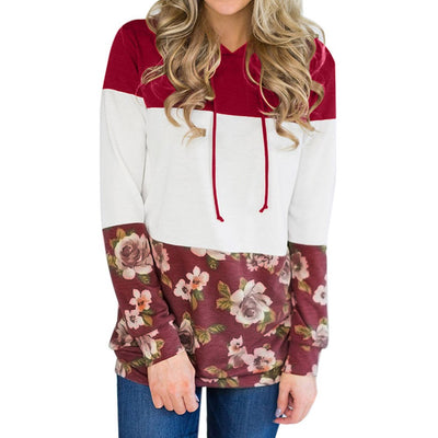 Women Loose Long Sleeve Floral Print Blouse Top Sweatshirts Red Hooded