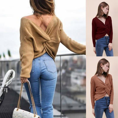 Women V Neck Twisted Back Sweater Pullovers Long Sleeve Knitted Sweaters Top