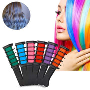 6colors  Hair Chalk Combs Temporary Hair Chalk Hair Color Comb Washable Hairs Color Dye Salon Kits Party Fans Cosplay (6pcs, 6colors)