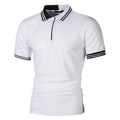 New Men Polo Shirt Men Business & Casual Pactwork Male Polo Shirt Gray White Short Sleeve Breathable Shirt Men Plus Size T6
