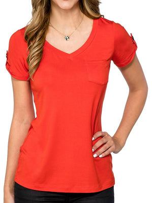 Ladies High-End Rayon/Spandex V-neck with Pocket