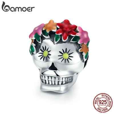 BAMOER Halloween Collection 925 Sterling Silver Flower Skull Charms Colorful Enamel Beads fit Women Bracelets DIY Jewelry SCC888