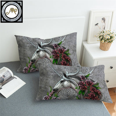Unicorn Dreamcatcher Bedsheet Color by Sunima-MysteryArt Pillowcase Roses Pillow Case Floral Bedding Grey Pillow Cover 2pcs