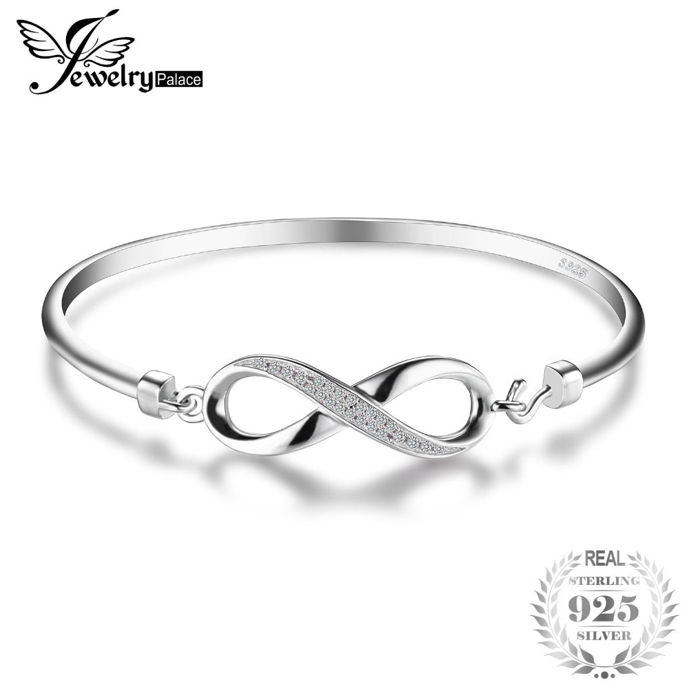 JewelryPalace Forever Love Infinity Anniversary Bangle Bracelet Pure 925 Sterling Silver Jewelry Wedding Bracelet Gifts For Mom
