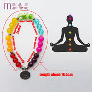 Men Women 7 Chakra Yoga Bracelet Colors Mixed Healing Reiki Prayer Mala Balance Buddha Beads Bracelet Bangles pendant Jewelry