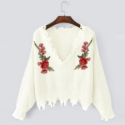 Women  Winter Embroidery Casual Long Sleeve knitting Sweaters Tops Blouse
