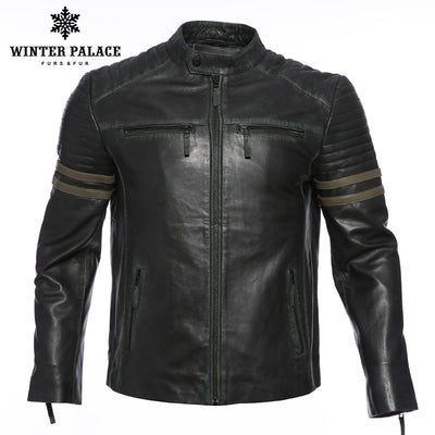 Locomotive retro small round neck leather jacket men New autumn fashion leather jacket Men's Clothing men's winter jackets