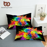 BeddingOutlet Colorful Roses Pillowcase 3D Printed Pillow Case Floral Bedding for Woman Watercolor Pillowcase Cover 2pcs