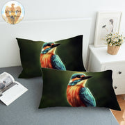 Kingfisher by KhaliaArt Pillowcase 3D Printed Pillow Case Colorful Furry Bird Bedding Vivid Sleeping Pillow Cover One Pair