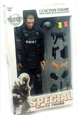 1/6 Soldier Figure Doll W SWAT Black Uniform Military Army Suit Clothes CN