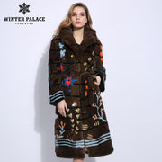 3D flower three-dimensional design mink fur coat winter real fur mink fur coat Imported leather fur coat