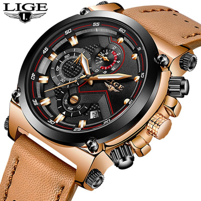 Relogio Masculino LIGE Men Watch Top Brand Luxury Business Leather Quartz Watch Men's Military Waterproof Automatic Chronograph