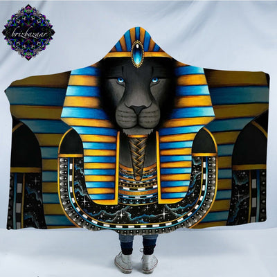 KING by Brizbazaar Hooded Blanket Ancient Egpyt Pharaoh Sphinx Sherpa Wearable Blanket Striped Throws Lion Mysterious Bedding