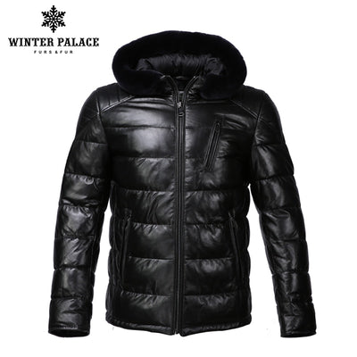New Winter leather jacket Bring  hat leather jacket men Internal Cotton jacket mens genuine leather Warm jaqueta de couro mascul