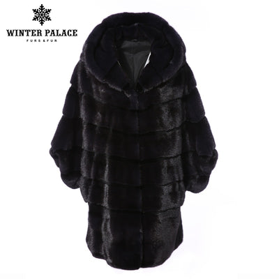 Winter imported mink fur 2018 women's real fur coat female whole hooded long section mink fur coat slim winter coat