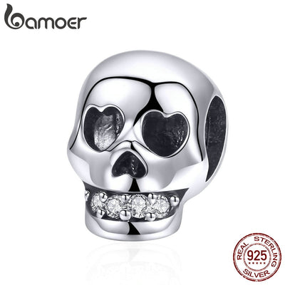 BAMOER 925 Sterling Silver Christmas Gift Skull Head Beads Charm fit Charm Bracelet Halloween Jewelry Making Accessories SCC965