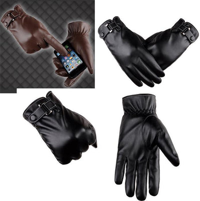 8 Mittens Leather Fall Casual Outdoor Winter 21cm Stretch Touchscreen Gloves Street Men Warm Solid Synthetic 26inch