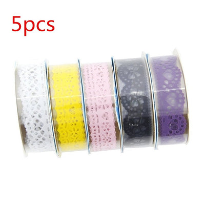 d 5pcs Cute Lace Flower Clear DIY Decorative Washi Tape Masking Tape Sticky Paper Masking Adhesive Tape for Scrapbooking & Phone DIY Decoration by  (Style-2)