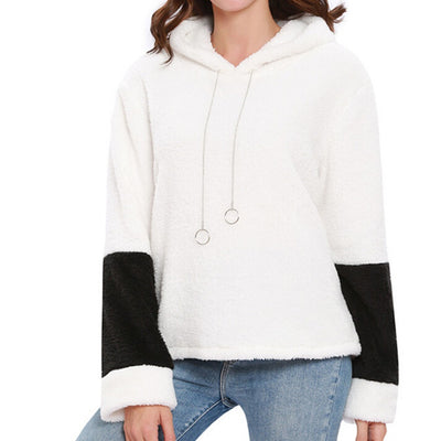 Women Autumn Winter Long Sleeve Hooded Panelled Sweatshirt Pullover Blouse Tops
