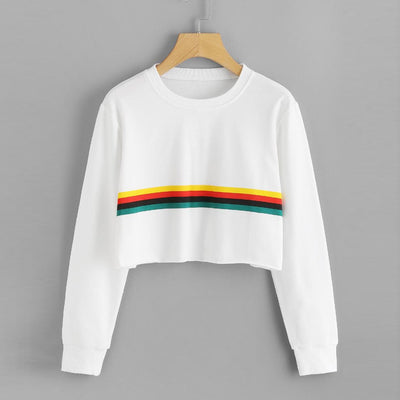 Womens Long Sleeve Rainbow Printing Round Neck Sweatshirt Blouse Tops