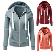Women Long Sleeve Patchwork Solid Color Hooded Zipper Casual Sport Coat