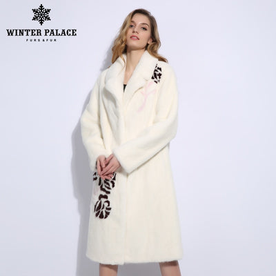 Popular roses 3D illustration mink fur coat pure white lapel natural mink fur coats import mink coats women