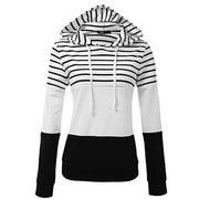 Womens Ladies Stripe Hooded Long Sleeve Shirt Blouse Sweatshirt