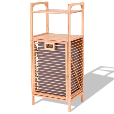 Tilt out Bamboo Shelf Slat Frame Storage Laundry Hamper