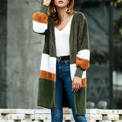 Conmoto Faux Fur Winter Coat Women Long Sleeve Cardigan Striped Colorblock Coats and Jackets Outerwear Plus Size