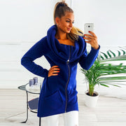 Women Fashion Solid Color Clothes Hoodies Zipper Coat Hoody Sweatshirt