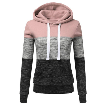 Fashion Womens Casual Hoodies Sweatshirt Patchwork Ladies Hooded Blouse Pullove