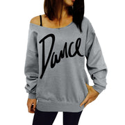 Women Loose Slash Neck Sweatshirt Ladies Casual Letter Dance Pullovers Tops