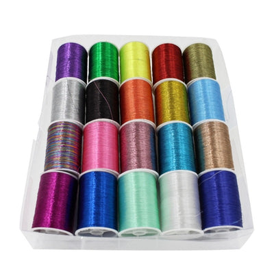 16 Spools Metallic Embroidery Thread DIY Portable Household Manual Sewing Thread Set (Multicolor)