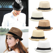 Fashion Men Women Straw Hat Contrast Ribbon Fedora Pinch Crown Curly Brim Unisex Panama Jazz Trilby Hat Holiday Sunshade Cap