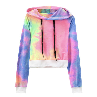 Women's Sexy Printed Hooded Long Sleeve Short Sweatshirt Hoodies Tops Blouse