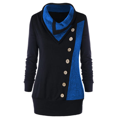 Women Vintage Long Sleeve Turn-Down Collar Buttons Patchwork Sweatshirt Pullover