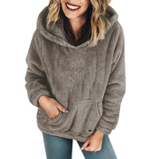 Women Hooded Sweatshirt Coat Winter Warm Wool Pockets Cotton Coat Outwear