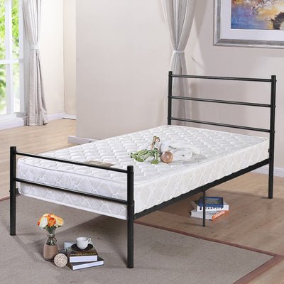 Costway Black Twin Size Metal Bed Frame Platform 6 Legs Headboards Furniture