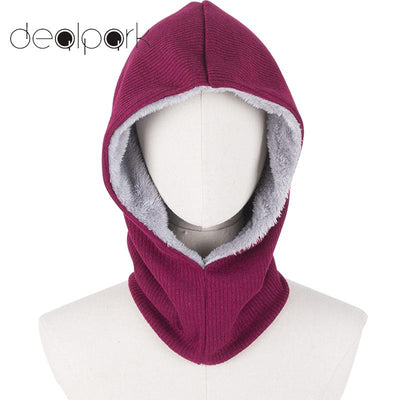New Winter Outdoor Sports Men Women Hood Snood Fleece Lined Solid Color Unisex Dual-Use Mask Hooded Scarf Neck Warmer Cap Poncho