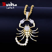 Animal Scorpion Hip Hop Pendant With Tennis Chain Gold Silver Color Bling Cubic Zircon Men's Necklace Jewelry For Gift