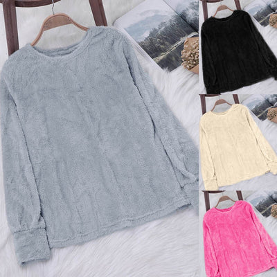 Womens Ladies Artificial Wool T-Shirt Blouses Tops  Sweatshirt